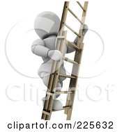 Royalty Free RF Clipart Illustration Of A 3d White Character Climbing A Wooden Ladder by KJ Pargeter