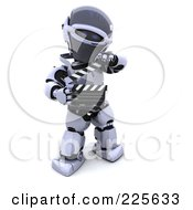 Royalty Free RF Clipart Illustration Of A 3d Robot Holding A Clapperboard