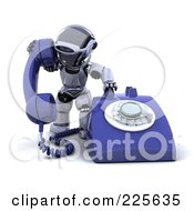 Royalty Free RF Clipart Illustration Of A 3d Robot Dialing A Large Desk Phone