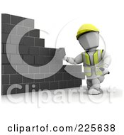 Royalty Free RF Clipart Illustration Of A 3d White Character Building A Wall With Cinder Blocks by KJ Pargeter