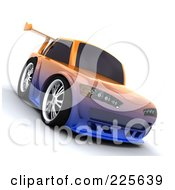 Royalty Free RF Clipart Illustration Of A 3d Drifter Car With An Orange And Blue Chameleon Paint Job by KJ Pargeter