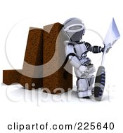 Royalty Free RF Clipart Illustration Of A 3d Robot Holding A Trowel And Leaning Against Bricks by KJ Pargeter