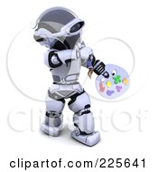 Royalty Free RF Clipart Illustration Of A 3d Robot Holding A Paint Palette by KJ Pargeter