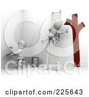 Royalty Free RF Clipart Illustration Of 3d Painters Working On Interior Walls by KJ Pargeter