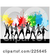 Royalty Free RF Clipart Illustration Of A Silhouetted Adults Jumping Against A Gray Background With Colorful Splatters