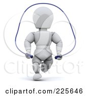Royalty Free RF Clipart Illustration Of A 3d White Character Using A Jump Rope by KJ Pargeter