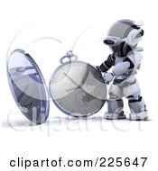 Royalty Free RF Clipart Illustration Of A 3d Robot Holding Up An Open Pocket Watch