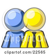 Clipart Illustration Of A Blue Person Standing Beside A Yellow Businessman Symbolizing Teamwork Or Mentoring by Leo Blanchette