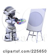 Royalty Free RF Clipart Illustration Of A 3d Robot Holding A Paint Palette And Gazing At A Blank Canvas by KJ Pargeter