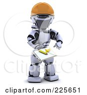 Royalty Free RF Clipart Illustration Of A 3d Robot Wearing A Hardhat And Holding Out A Clipboard by KJ Pargeter
