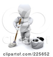 Royalty Free RF Clipart Illustration Of A 3d White Character Using A Mop And Standing By A Bucket
