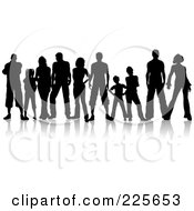 Royalty Free RF Clipart Illustration Of A Line Of Silhouetted Adults And Kids With Reflections by KJ Pargeter