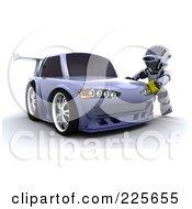 3d Robot Waxing A Drifter Car