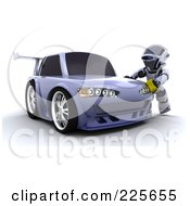 Royalty Free RF Clipart Illustration Of A 3d Robot Waxing A Drifter Car by KJ Pargeter