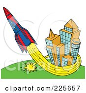 Royalty Free RF Clipart Illustration Of A Rocket Shooting Up And Around Skyscrapers by LaffToon