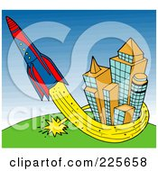 Royalty Free RF Clipart Illustration Of A Rocket Shooting Up And Around Buildings by LaffToon