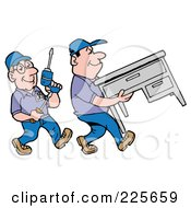 Royalty Free RF Clipart Illustration Of A Pair Of Office Furniture Movers Moving A Desk