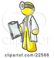 Clipart Illustration Of A Yellow Male Doctor Holding A Clipboard And Wearing A Head Lamp