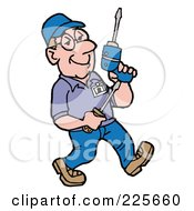 Royalty Free RF Clipart Illustration Of A Technician Walking And Carrying Tools