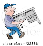 Royalty Free RF Clipart Illustration Of A Mover Man Moving An Office Desk