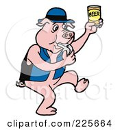 Royalty Free RF Clipart Illustration Of A Pig Blowing A Whistle And Holding Up A Can Of Beer