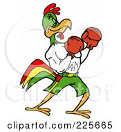 Royalty Free RF Clipart Illustration Of A Boxing Rooster