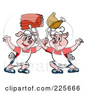 Royalty-Free (RF) Clipart Illustration of a Two Chef Pigs Holding Up Ribs And Chicken by LaffToon