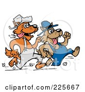 Royalty Free RF Clipart Illustration Of Two Racing Wolves