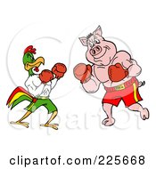 Royalty Free RF Clipart Illustration Of A Rooster And Pig Boxing