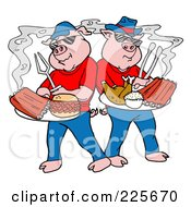 Royalty Free RF Clipart Illustration Of Bbq Pigs With Plates Of Ribs Pulled Pork Burgers And Poultry by LaffToon