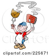 Royalty Free RF Clipart Illustration Of A Proud Male Cook Holding Up Poultry And Bbq Ribs
