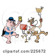 Royalty Free RF Clipart Illustration Of A Pig Blowing A Whistle And Holding Beer By A Cow And Chicken Holding Up Beef And Poultry
