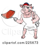 Royalty Free RF Clipart Illustration Of A Pirate Pig Chef Holding Ribs With A Hook Hand
