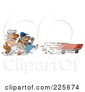 Royalty Free RF Clipart Illustration Of Two Wolves After Ribs On Wheels