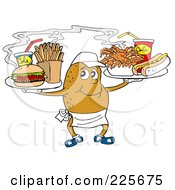 Royalty Free RF Clipart Illustration Of A Spud Carrying Trays Of Fast Food