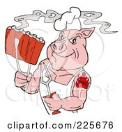 Royalty Free RF Clipart Illustration Of A Strong Tattooed Chef Pig Holding Steamy Ribs by LaffToon