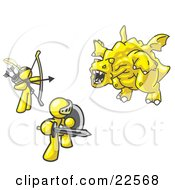Clipart Illustration Of Two Yellow Men Working Together To Conquer An Obstacle A Dragon by Leo Blanchette