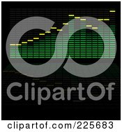 Royalty Free RF Clipart Illustration Of A Green Analyzer Equalizer On Black With Copyspace