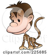 Royalty Free RF Clipart Illustration Of A Cute Little Monkey Walking On All Fours by dero