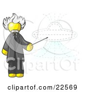 Clipart Illustration Of A Yellow Einstein Man Pointing A Stick At A Presentation Of A Flying Saucer