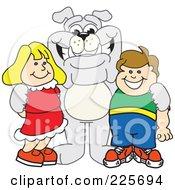 Gray Bulldog Mascot Standing With School Children