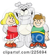 Royalty Free RF Clipart Illustration Of A Gray Bulldog Mascot Standing With School Children