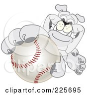 Royalty Free RF Clipart Illustration Of A Gray Bulldog Mascot Reaching Up And Grabbing A Baseball