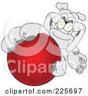 Gray Bulldog Mascot Reaching Up And Grabbing A Red Ball