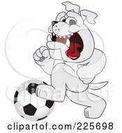 Gray Bulldog Mascot Running With A Soccer Ball