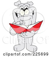Gray Bulldog Mascot Thumbing Through A Book