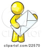 Clipart Illustration Of A Yellow Person Standing And Holding A Large Envelope Symbolizing Communications And Email by Leo Blanchette