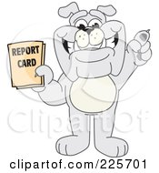 Gray Bulldog Mascot Holding A Report Card