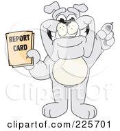 Gray Bulldog Mascot Holding A Report Card