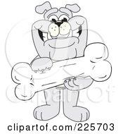 Gray Bulldog Mascot Standing And Holding A Large Bone